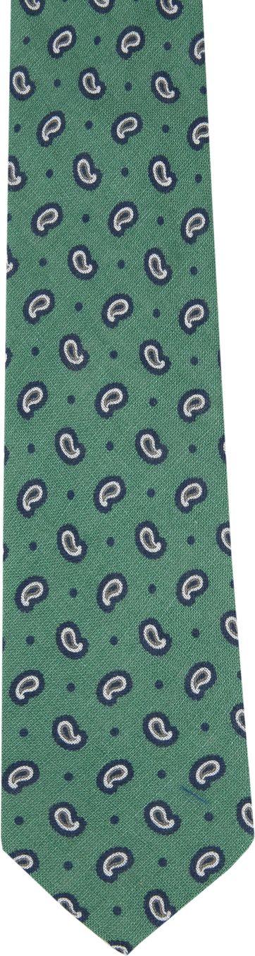Tie Linen Paisley Green