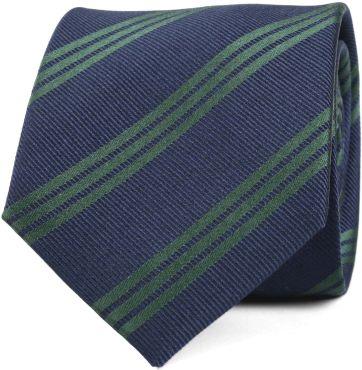 Tie Silk Dark Navy Green Stripes