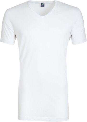 Tiefer V-Ausschnitt 2-Pack Bambus T-Shirt Weiß