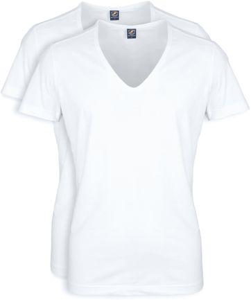 Tiefer V-Ausschnitt 2-Pack Stretch T-Shirt Weiß
