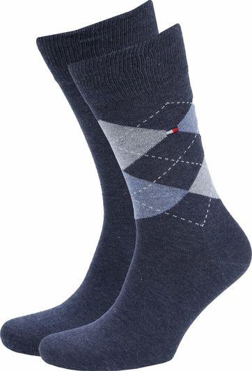 Tommy Hilfiger 2-Pack Socken Kariert Uni Blau