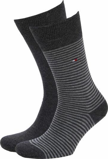 Tommy Hilfiger 2-Pack Socken Streifen Uni Dunkelgrau