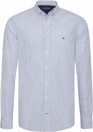 Tommy Hilfiger Overhemd Jaspe Streep Blauw