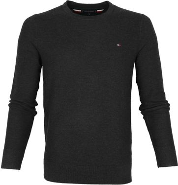 Tommy Hilfiger Pullover Honeycomb O-Neck Anthracite