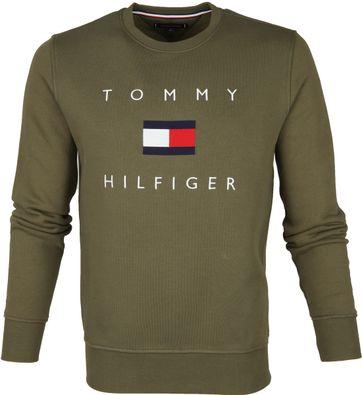 Tommy Hilfiger Pullover Logo Olivgrün
