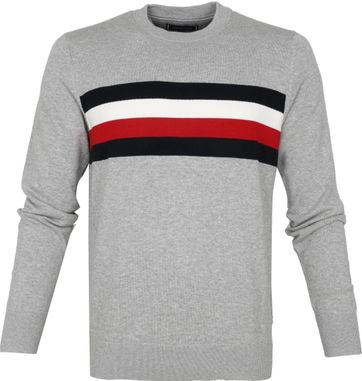 Tommy Hilfiger Pullover Streifen O-Neck Grau