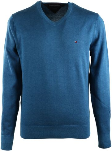 Tommy Hilfiger Pullover V-Ausschnitt Blau
