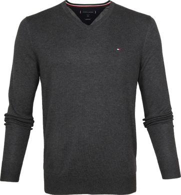 Tommy Hilfiger Pullover V-Ausschnitt Dunkelgrau