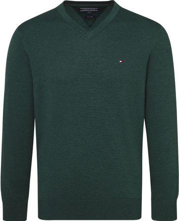 Tommy Hilfiger Pullover V-Ausschnitt Dunkelgrün