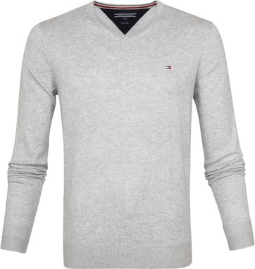 Tommy Hilfiger Pullover V-Neck Hellgrau