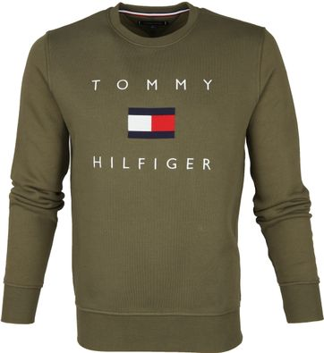 Tommy Hilfiger Sweater Logo Olijfgroen