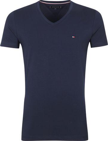 Tommy Hilfiger T Shirt V-Ausschnitt Stretch Navy
