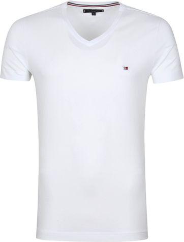Tommy Hilfiger T Shirt V-Ausschnitt Stretch Weiß