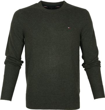 Tommy Hilfiger Wol Pullover O-Hals Donkergroen