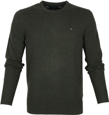 Tommy Hilfiger Wolle Pullover O-Neck Dunkelgrun