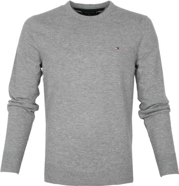 Tommy Hilfiger Wolle Pullover O-Neck Grau