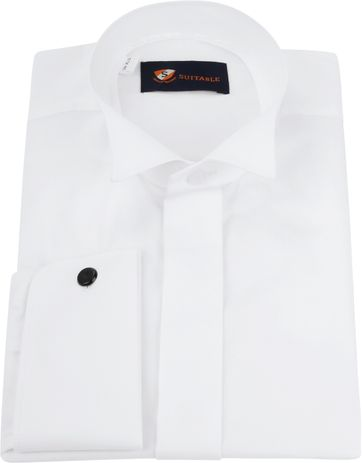 Tuxedo Shirt High Collar White