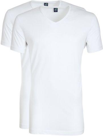 V-Ausschnitt 2er Pack Bambus T-Shirt Weiß