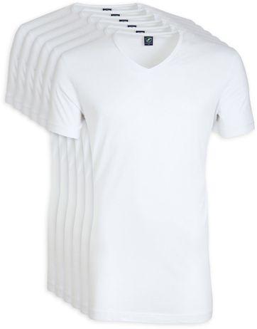 V-Ausschnitt 6-Pack Bambus T-Shirt Weiß