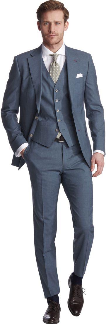 Van Gils Ellison Anzug Blau Dreiteiliger