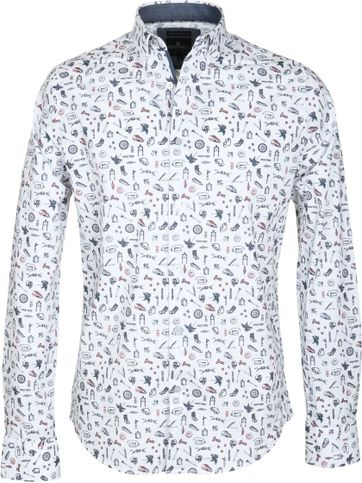Vanguard Casual Overhemd Wit Print