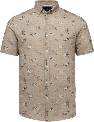 Vanguard Korte Mouw Overhemd Bloem Beige