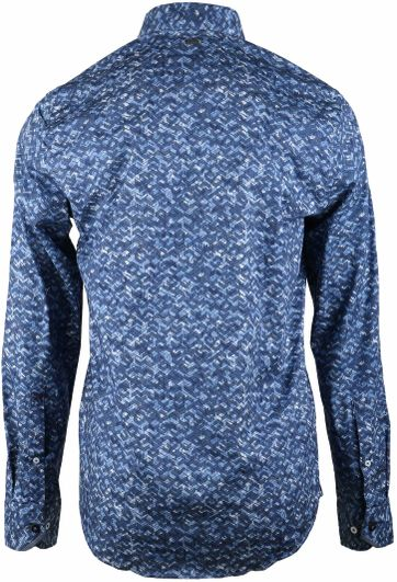 Detail Vanguard Overhemd Blauwe Print