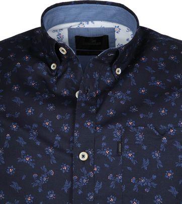 Vanguard Overhemd Bloemen Donkerblauw
