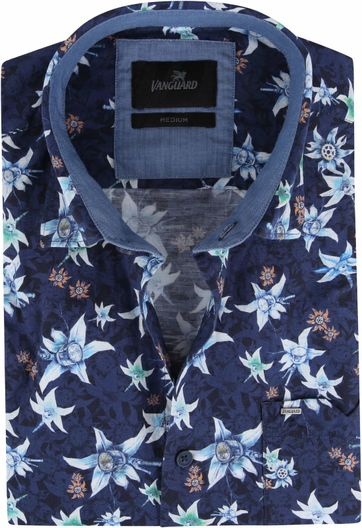 Vanguard Print Hemd Blumen Dunkelblau