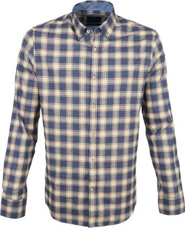 Vanguard Print Hemd Geblokt Blauw Beige