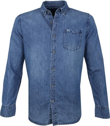 Vanguard Print Overhemd Denim Blauw