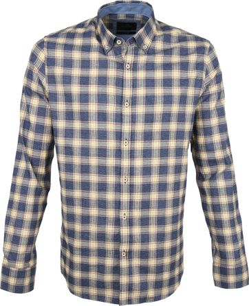 Vanguard Print Shirt Blocks Blue Beige