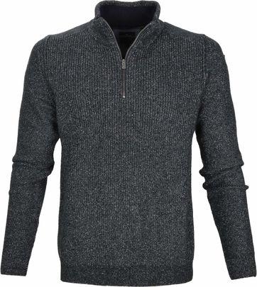 Vanguard Pullover Reißverschluss Melange Dunkelgrün