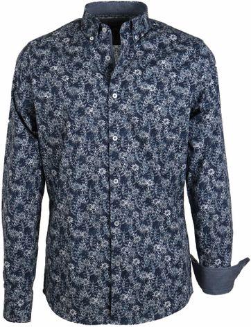 Vanguard Shirt Donkerblauw Bloemen