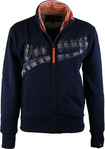 VanOrange Cardigan Dark Blue Script 14