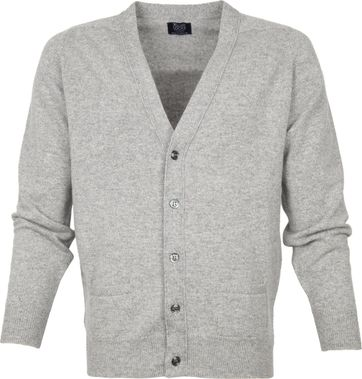 William Lockie Lambswool Cardigan Grey