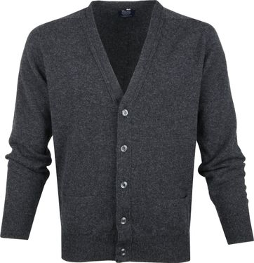 William Lockie Lammwolle Cardigan Dunkelgrau
