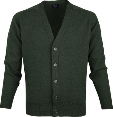 William Lockie Lammwolle Cardigan Dunkelgrün