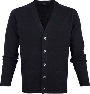 William Lockie Lammwolle Cardigan Navy