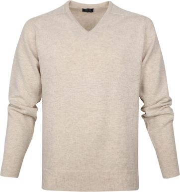 William Lockie V-Neck Lambswool Beige