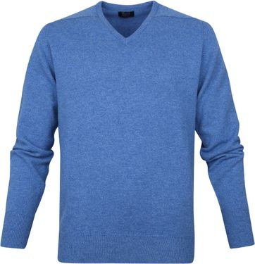 William Lockie V-Neck Lambswool Light Blue