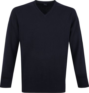 William Lockie V-Neck Lambswool Navy