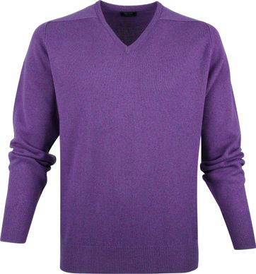 William Lockie V-Neck Lambswool Purple