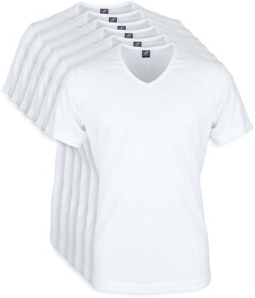 Wit T-Shirt 6Pack V-neck