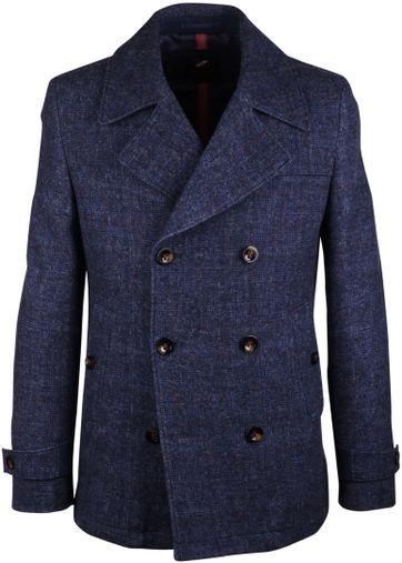 Zweireihiger Mantel Caban Blau Kariert