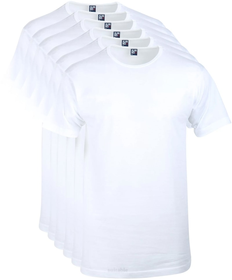 Detail Alan Red Aanbieding Derby O-Hals T-shirts Wit (6Pack)