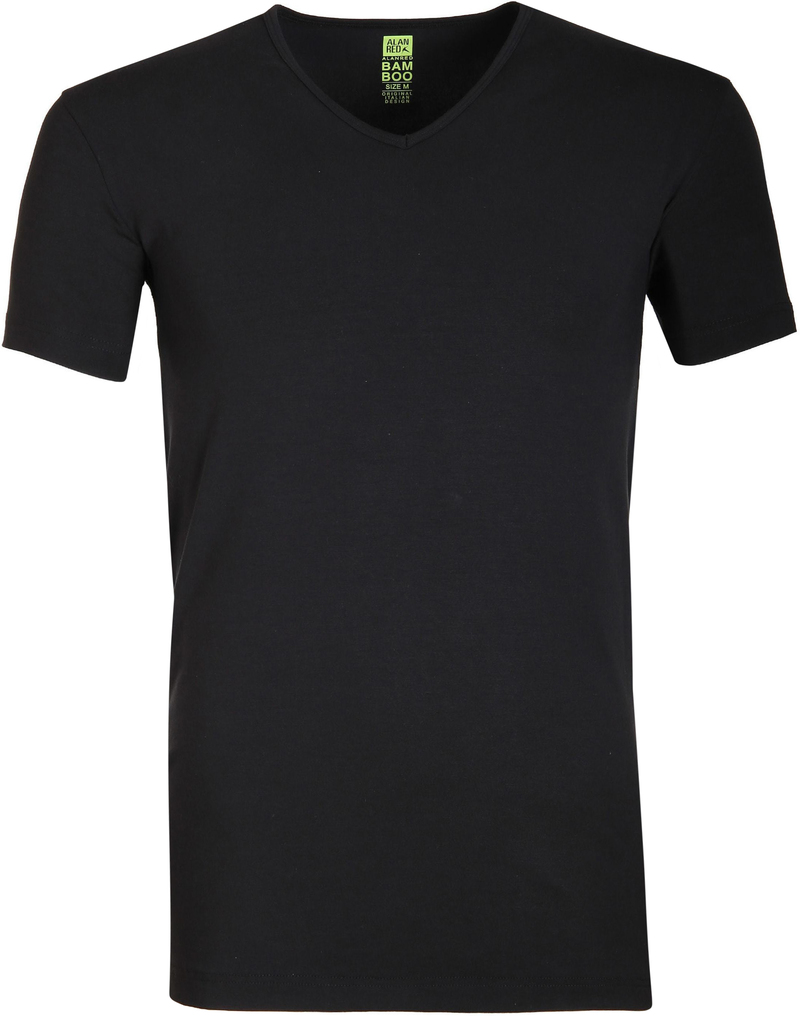 Alan Red Bamboo T-shirt Zwart foto 0