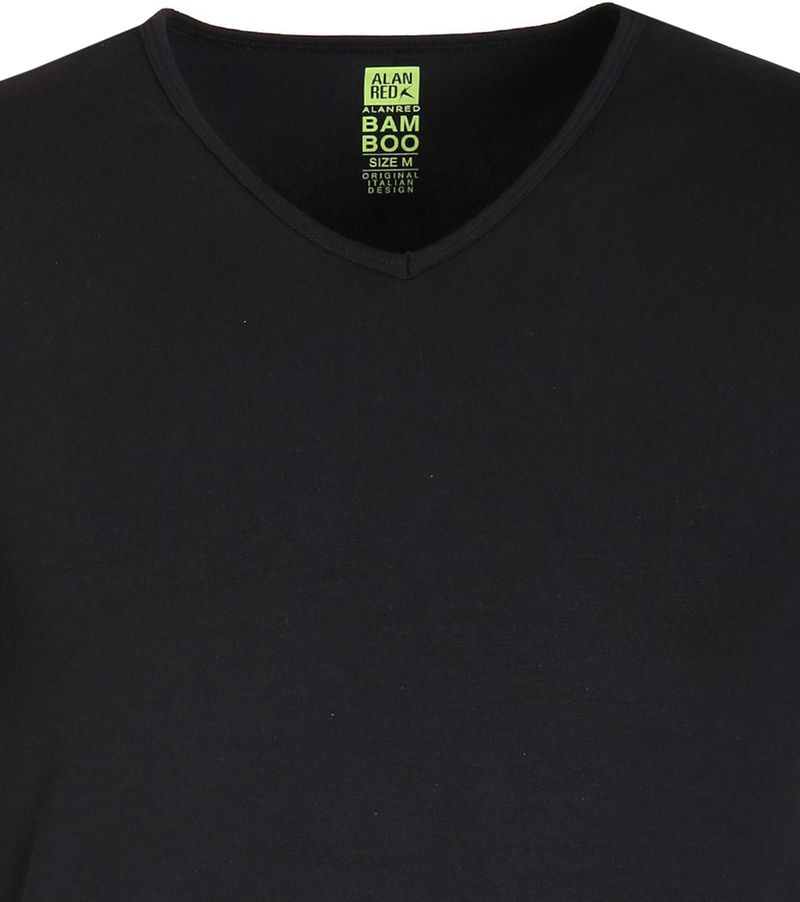 Alan Red Bamboo T-shirt Zwart foto 1