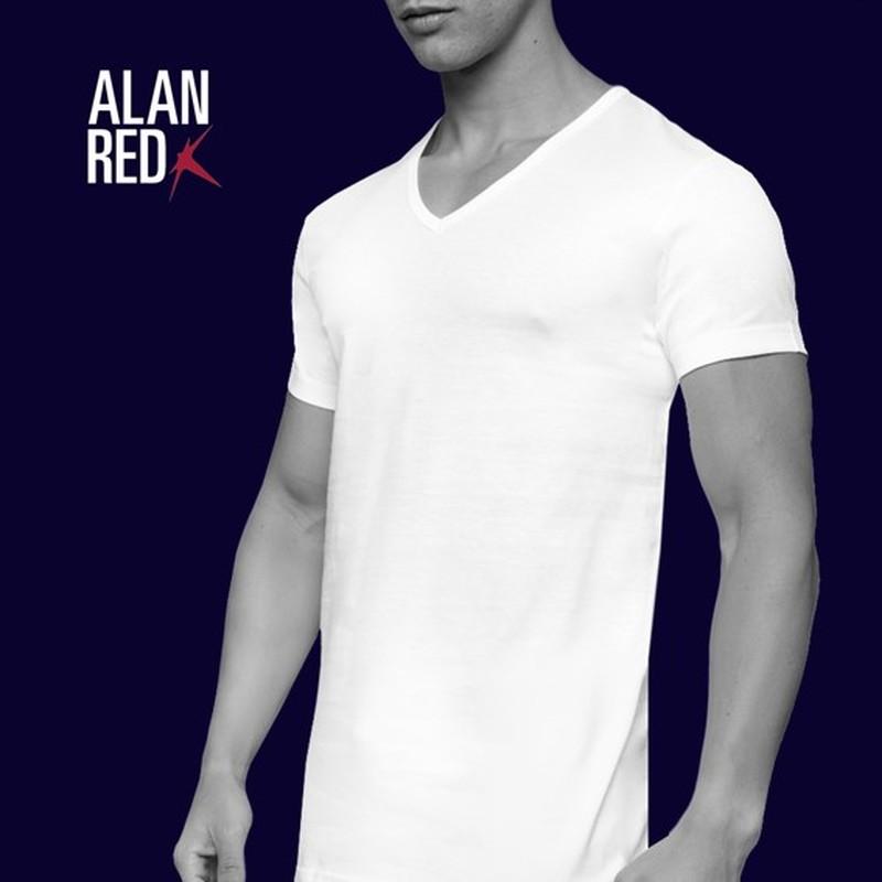 Alan Red Dean V-Hals T-Shirt Wit (2Pack) foto 4