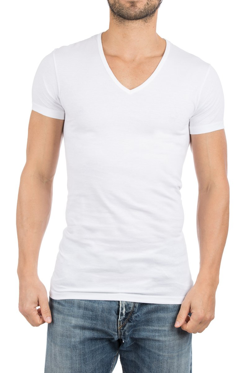 Alan Red Dean V-Neck T-shirt White 2-Pack